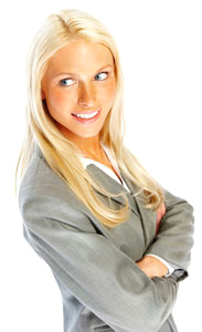 Pretty confident business woman smiling over white background